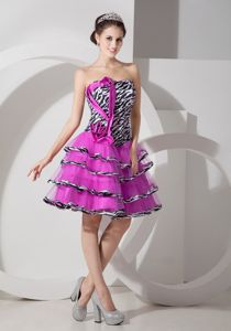 Zebra Printing Strapless Homecoming Cocktail Dresses with Layers