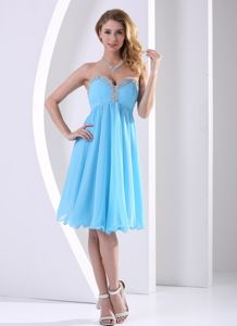 Aqua Blue Chiffon Prom Cocktail Dresses with Beading Sweetheart