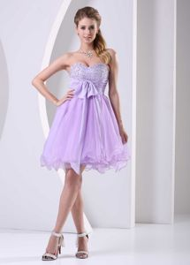 Flattering Sweetheart Evening Cocktail Dress with Beading and Bow