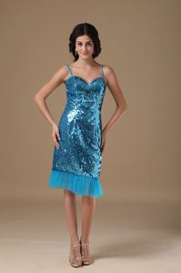 Best Spaghetti Straps Sequins Homecoming Cocktail Dresses in Teal
