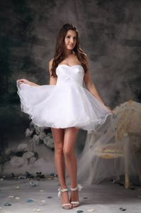 2014 White Sweetheart Organza Cocktail Party Dress with Mini-length