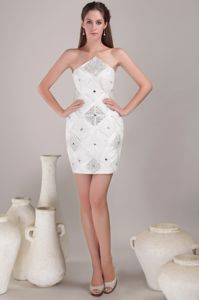 Special White Mini-length Satin Evening Cocktail Dress with Beading