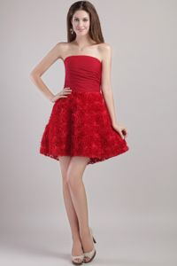 Wine Red Strapless Cocktails Dresses with Special Embossed Fabric