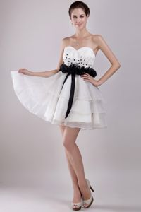 Affordable White Sweetheart Beading Cocktail Party Dress with Sash
