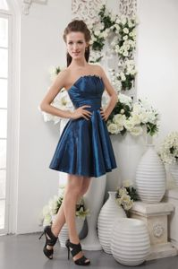 Custom Made Navy Blue Strapless Ruched Cocktail Dresses in Taffeta