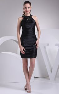 Black Halter Top Beading Ruche Evening Cocktail Dresses Mini-length