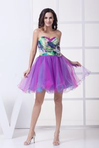Colorful Sweetheart Print Ruche Cocktail Dress for Prom with Sequin