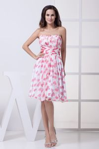 Impressive Print Strapless Zipper-up Cocktails Dresses with Ruches