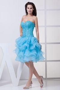 Aqua Blue Ruffled Layers Homecoming Cocktail Dress with Beading