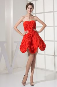 Red Ruche and Flower Decorating Cocktail Party Dresses Wholesale