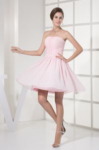2014 Strapless Ruched Bodice Cocktail Dress for Prom in Baby Pink