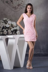 Baby Pink V-neck Ruched Cocktail Reception Dress with Mini-length