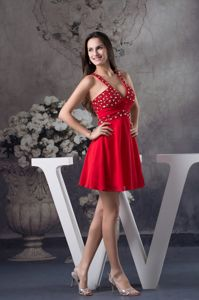 Sexy Red Plunging Rhinestone Prom Cocktail Dress with Cutout Back