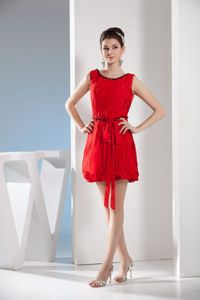 Best Red Scoop Mini-length Homecoming Cocktail Dresses with Sash