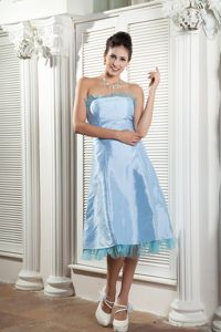 Strapless Tea-length Prom Cocktail Dress in Baby Blue Designers