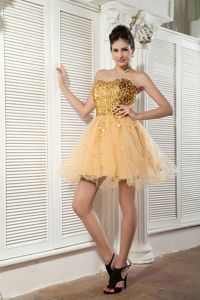 2013 Best Puffy Gold Short Prom Cocktail Dresses with Sequins