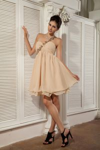 One Shoulder Champagne Mini Evening Cocktail Dress with Cutout