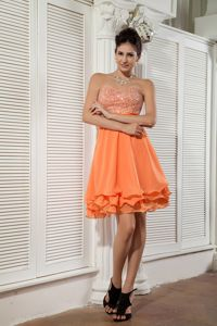 Cheap Short Orange Cocktail Dresses for Prom with Beaded Bust