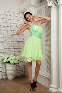 Fast Shipping One Shoulder Yellow Green Short Cocktail Dresses