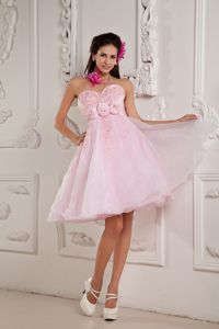 Organza Puffy Baby Pink Short Cocktail Party Dress with Flowers