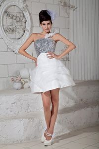 Perfect Sequins White and Silver Mini Cocktail Dress for Celebrity