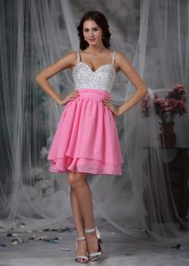 Girly Side Zipper Silver and Pink Mini Homecoming Cocktail Dress