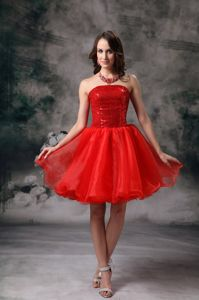 Sequins Organza Puffy Red Evening Cocktail Dresses for Women