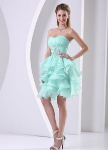 Apple Green Short Prom Cocktail Dress with Ruffled Layers Beads