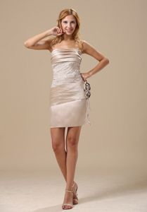 Ruched Appliqued Champagne Short Cocktail Dress for Wholesale
