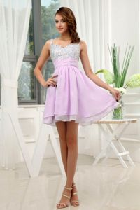 Silver and Lavender Beaded Mini Prom Cocktail Dress with Straps