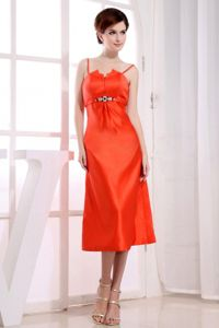 Spaghetti Straps Tea-length Cocktail Party Dresses in Orange Red