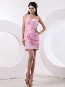 One Shoulder Ruched Beaded Cocktail Party Dresses in Rose Pink