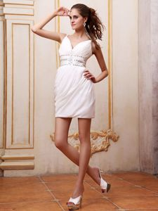 Straps Beaded White Mini Dresses for Wedding Cocktail Party