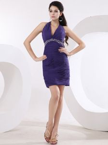 Halter Top Mini-length Beaded Purple Cocktail Dresses for Prom