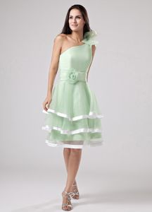 One Shoulder Tiered Apple Green Knee-length Cocktail Party Dress