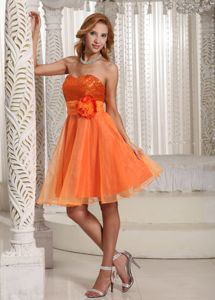 Sequins Organza Sweetheart Knee-length Cocktail Dress in Orange