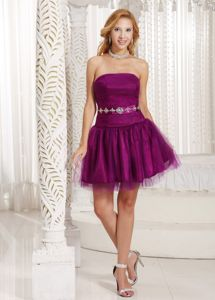 Strapless Mini-length Purple Cocktail Dress with Beads on Waist