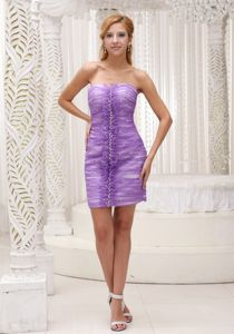 Lace-up Sheath Ruched Lavender Short Cocktail Reception Dress