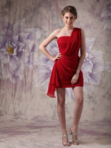 Custom Made One Shoulder Ruched Red Mini Cocktail Dresses