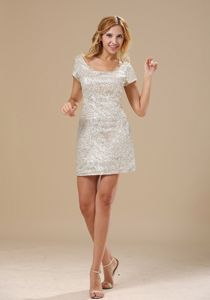 Silver Scoop Short Cocktail Party Dress with Paillette over Skirt
