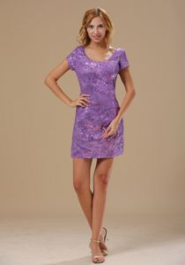 Scoop Neck Short Sleeves Sequins Purple Evening Cocktail Dress