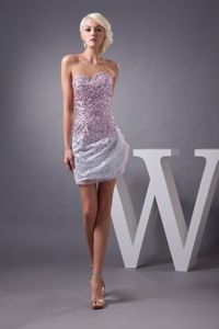 Sweetheart Mini-length Colorful Prom Cocktail Dress with Rhinestone