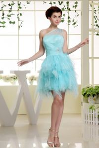 One Shoulder Short Beaded Baby Blue Cocktail Dress with Ruffles