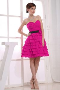 Pretty Sweetheart Knee-length Fuchsia Cocktail Dress with Ruffles