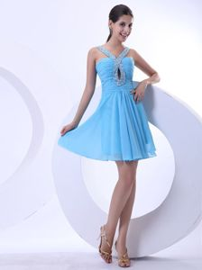 Sexy V-neck Short Beaded Aqua Blue Cocktail Dresses with Cutout