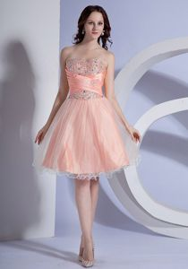 Sweetheart Mini-length Cocktail Dress in Peach Pink with Beading