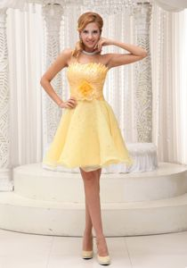 Strapless Short Beaded Light Yellow Cocktail Dresses with Flower