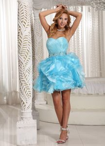 Sweetheart Short Beaded Cocktail Dresses in Aqua Blue with Ruche