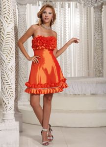 Strapless Short Orange Red Cocktail Dress with Handmade Flowers
