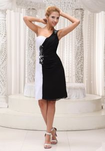 One Shoulder Knee-length Beaded Black and White Cocktail Dress